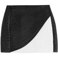 Balmain Leather Mini Skirt ($1,190) ❤ liked on Polyvore