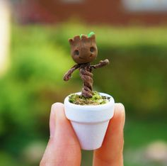 Baby Dancing Root Pot Clay Figurine Small by Astrodough on Etsy