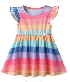 Cute baby rainbow dress, Baby girls dress, a-line,sleeveless, ruffles sleeve, stripe printed, round neck summer dress. This smocked dress makes your princess so attractive and adorable. A Baby girls stripe sleeveless dress suitable for birthday parties, daily wear, dance parties, weddings, pageants, birthdays, holidays, special occasions and dress ups. Cute Flower Girl Dresses, Girls Lace Dress, Girls Dresses, Toddler Girl Outfits, Toddler Dress, Toddler Girls, Kids Girls, Baby Girls, Kids Summer Dresses
