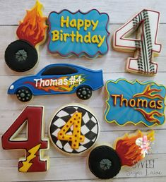 Zooming off to a birthday. Disney Cars Birthday, Race Car Birthday, Race Car Party, Cars Birthday Parties, Hot Wheels Birthday, Hot Wheels Party, Car Cookies, Sugar Cookie Royal Icing, Wedding Cookies