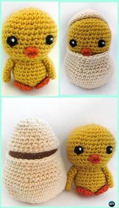 Crochet Amigurumi Spring Chicken with Egg Free Pattern - #Crochet; Chicken Free Patterns