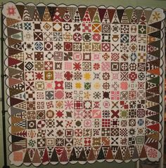Completely amazing! SAMPLER HISTORIC ANTIQUE QUILT. Made by hand!