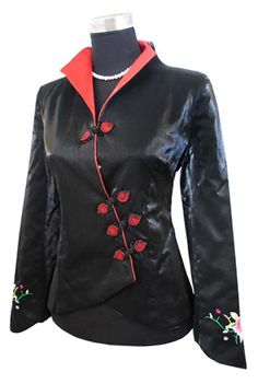 #idreammart Periwing Black Taffeta Aristocratic Button Embroidered Cuff Chinese Jacket for Ladies - iDreamMart.com