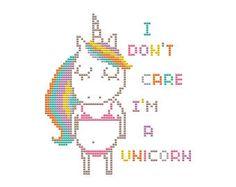 Cross Stitch Pattern Rainbow Unicorn Believe Instant Download