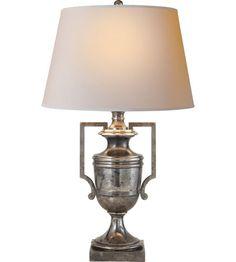 Visual Comfort E.F. Chapman Regency 1 Light Decorative Table Lamp in Sheffield Silver CHA8355SHS-NP #visualcomfort #lightingnewyork #lighting