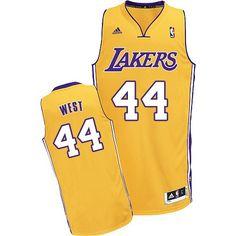 358da5897 Los Angeles Lakers  44 Adidas Swingman Jerry West Men s Gold NBA Jersey  Soccer Jerseys