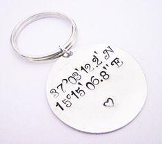Latitude Longitude Keychain Personalized Gift by RobertaValle
