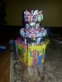 Candy Birthday cake I made for my fiance.