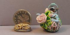 OOAK chickadee bird pink roses pink cottage teapotkettle miniature Cottage Kitty