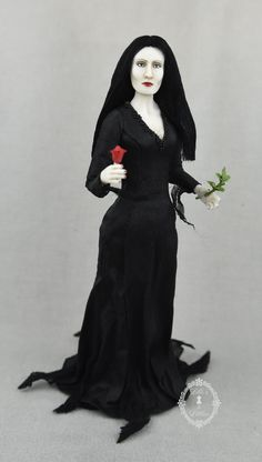 Morticia Addams in 1:12 scale, porcelain, original sculpt Morticia Addams, Dollhouse Dolls, Sculpting, Goth, Porcelain, Miniatures, Gallery, Miniature Rooms, Dollhouses