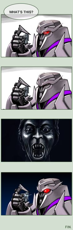 Weeping Angel by Lanveril.deviantart.com on @deviantART. Megatron's face in the last panel... xD