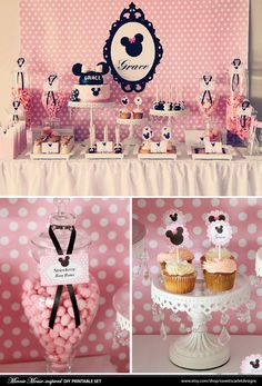 MINNIE Mouse Bithday Party Printable Set - Birthday Invitation, Cupcake Toppers, Favor Tags and more