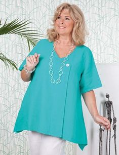 Plus size Tipton aqua top