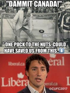 Poor Canada has a white version of Obama. Canada needs to stand up if it's not late Funny Facts, Funny Memes, Hilarious, Jokes, The Twits, Canadian Things, O Canada, Fun Signs, Justin Trudeau