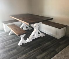CreationsBy Wiley 5 Table bench and built in corner bench. First built in for me very happy with the Corner Bench Kitchen Table, Farmhouse Kitchen Tables, Dining Table With Bench, Dinning Room Tables, Kitchen Benches, Kitchen Nook, Bench Dining Room Table, Corner Dining Nook, Farmhouse Table With Bench