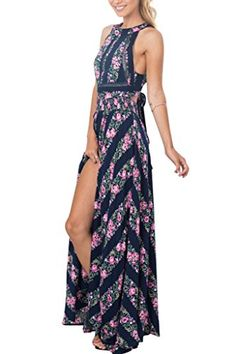 Simplee Apparel Womens Halter Backless Striped Floral Print Maxi Dress Blue >>> Details can be found by clicking on the image. (This is an affiliate link and I receive a commission for the sales)
