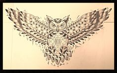 Sacred geometry owl chest piece tattoo, dotwork, black and grey, geometric, Sri yantra.