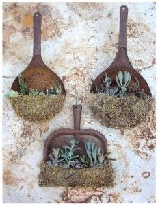 Old rusty dust pans as garden art
