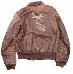"""WWII US 8th Air Force Painted A-2 Flight Jacket From B-24 """"Lil Abner"""" Ted' Flying Circus (Back)"""