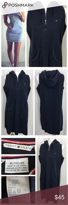 """Tommy Hilfiger Hooded Knit Dress Tommy Hilfiger classic navy knit pullover dress with front kangaroo pocket and back drawstring hood. Front quarter zip and white topstitching. Small logo on left breast and zipper pull. NOTE: model is outfitting similar dress, actual dress is longer, please note measurements. Size XL, 20.5"""" chest, 19.5'"""" waist, 24"""" hips; 36"""" total length. Great condition. Tommy Hilfiger Dresses"""