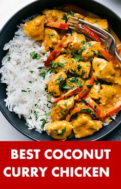 Coconut Chicken CurryThis coconut chicken curry is packed with delicious flavors. - Coconut Chicken CurryThis coconut chicken curry is packed with delicious flavors and an easy one po - Indian Food Recipes, Asian Recipes, Healthy Recipes, Thai Curry Recipes, Rice Recipes, Recipies, Easy One Pot Meals, Easy Dinner Recipes, Curry Dishes