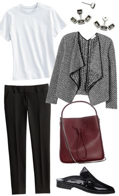 Swap your traditional white blouse in favor for this white Lands' End T-shirt, but give it a polished twist with a sleek Rebecca Taylor jacket and a burgundy bag.
