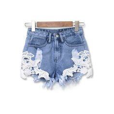 Buy Women Summer Sexy Lace Denim Shorts jeans Hot Pants Short Trousers Casual at Wish - Shopping Made Fun Lace Jean Shorts, Shorts Jeans, Ripped Shorts, Hot Shorts, Denim And Lace, High Waisted Shorts, Blue Denim, Casual Shorts, Pocket Shorts