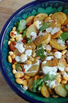 Salade de pommes de terre sautées, lupin, tomates séchées, câpres & coriandre_3