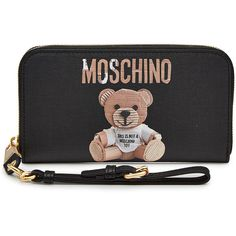 Moschino Printed Wallet (€248) ❤ liked on Polyvore featuring bags, wallets, black, tote bag, moschino, moschino tote, logo bags and party bags