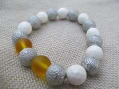 White faceted shell silver bumpy glass pearl by littlecrowshop, $17.00