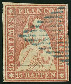 Aa-Strubel (Munich Printing, 1. Edition) 15 Rp. dull rose, 1. Munich printing, fresh colors, on all sides good margins, nice and neat cancelled, (Michel. No. 15Ia), photo expertize from the Weid. SBK 800,- Sfr.  Dealer Gert Müller Auctions  Auction Minimum Bid: 150.00EUR