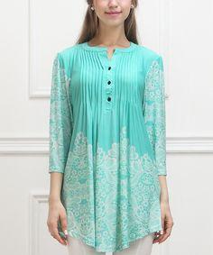 Reborn Collection Aqua Lace-Print Notch Neck Tunic - Women | zulily