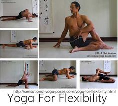 yoga for flexiblity routine including neck stretches, quad stretches, spinal twists, hamstring stretches, hip flexor stretches, outer thigh stretches, inner thigh stretches and stretch recovery exercises including standing forward bend, standing side bend, triangle, revolving triangle, half moon and bakasana. Neil Keleher. Sensational Yoga Poses.