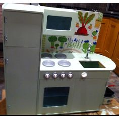 Play kitchen just need to add handles, paint over the old door screws and add sink Wooden Play Kitchen, Diy Kitchen, Arcade, Sink, Old Things, Babies, Children, Painting, Inspiration