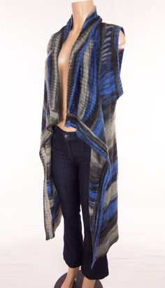 ANTHROPOLOGIE MOTH Sweater Vest Med Large MD/LG Blue Gray Ombre Long Cardigan #MothAnthropologie #VestSleeveless