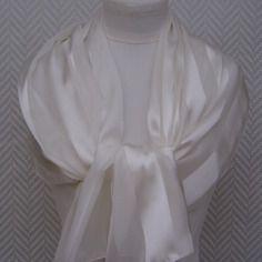 Echarpe étole blanche en soie