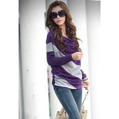 $4.72 Casual Style Loose-Fitting Cowls Neck Long Sleeves Cotton Blend Stripe T-Shirts For Women This site has a bunch of cute stuff for cheap!