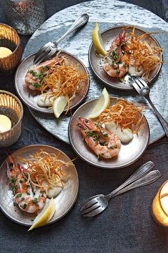 Gremolata king prawns with shoestring root fries and aïoli   Food and Travel Magazine