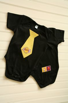 Los Angeles Lakers Tie Onesie or Shirt by BabyThreadsByLiz on Etsy, $14.00
