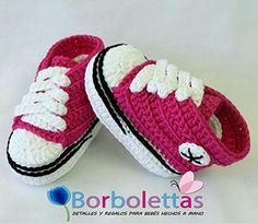 Patucos para Bebé, tipo Converse, 3-6 meses, Rosa Fucsia. Hecho a Mano. España: Amazon.es: Handmade