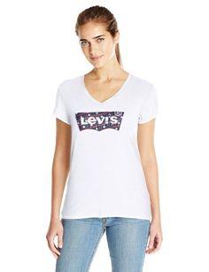 La camiseta con el cambray Americana Batwing apliques, Blanco, Medio cuello en V…