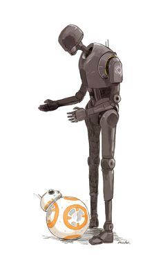 """ramenuzumaki: """" K-2SO (Rogue One) and BB-8 {✘}   のほ {twitter}   Posted with artist's permission   Please do not remove the source! """""""