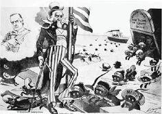 """Attenzione zio Sam, arrivano i topolini italiani carichi di mafia e socialismo!    """"Occhio zio Sam sbarcano i sorci!"""" vignetta pubblicata su un giornale americano nel 1903"""