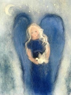 Little angel Little angel Presents: Christmas is coming Christmas or the Christ event, the Event of lights, the Party of peace, or th. Angel Artwork, Grand Art, Felt Angel, I Believe In Angels, Felt Pictures, Wool Art, Felt Art, Needle Felting, Painting & Drawing