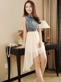 I found 'Beige Women Fashion Casual Sleeveless Splicing Denim And Chiffon Dresses With Belt S/M/L/XL FZ71598be' on Wish, check it out!