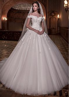 Buy discount Junoesque Tulle Off-the-shoulder Neckline Ball Gown Wedding Dress With Lace Appliques & 3D Flowers & Beadings at Dressilyme.com