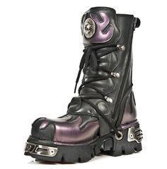 Rebelsmarket new rock shoes classic new rock combat boots with purple flames boots 9