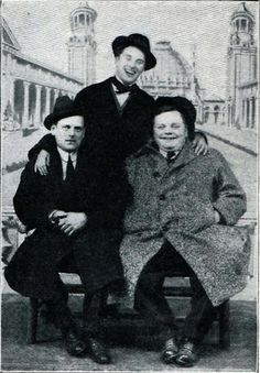 """c.1915 : """"Broncho Billy"""" Anderson, CC, & Roscoe Arbuckle. Anderson along with George K. Spoor founded the Essanay Studios (""""S"""" & """"A""""). Charlie signed with the company in late 1914."""