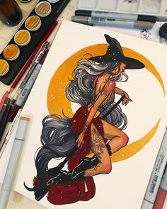 inktober day moon witch🌙Tonight is a full moon so I wanted to draw a moon witch!Materials: Dr PH martins Black Star India ink, copic markers, finetec gold watercolor, Pentel aquash pens, and uniball signo white pen. Witch Drawing, Painting & Drawing, Pretty Art, Cute Art, Art Sketches, Art Drawings, Character Art, Character Design, Arte Sketchbook