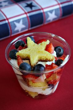 Mini 4th of July Berry Trifles ~ Perfect for picnic served in small cups.